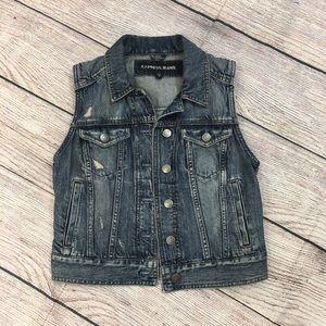 Express Demin  Distressed Vest Size Small 2/4